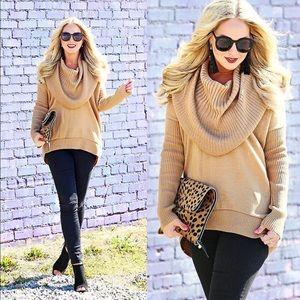 Sweaters - Tan Cowl Neck Sweater